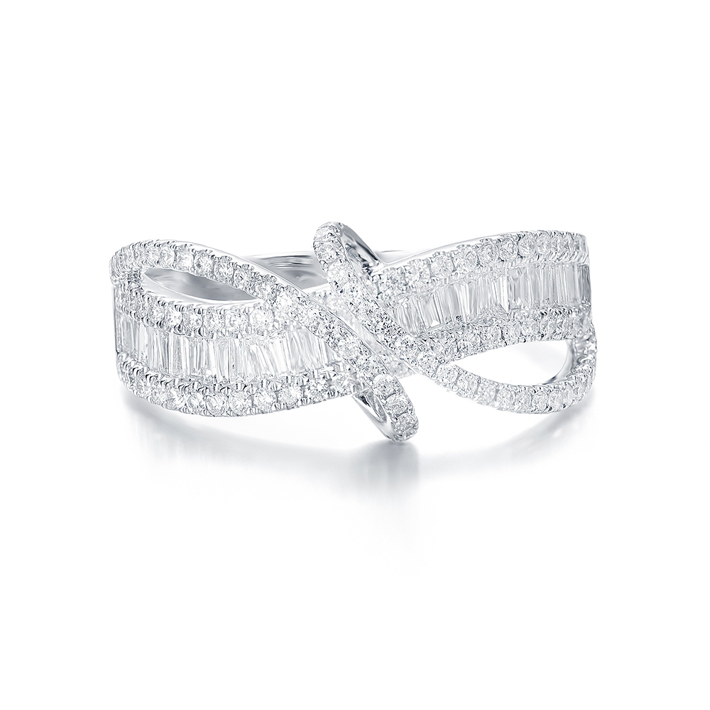 Curved Baguette and Round Diamond Ring