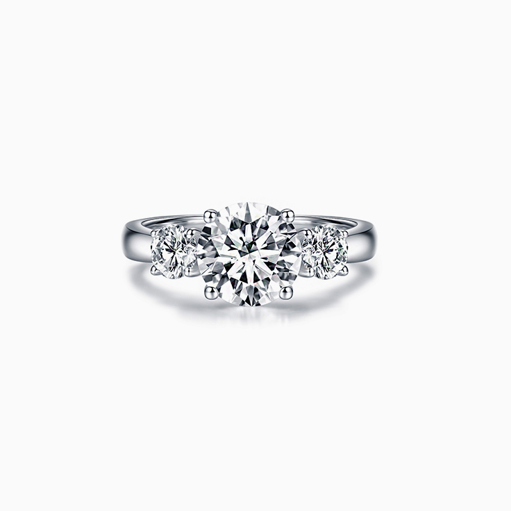Round Brilliant Cut Diamond Trilogy Engagement Ring