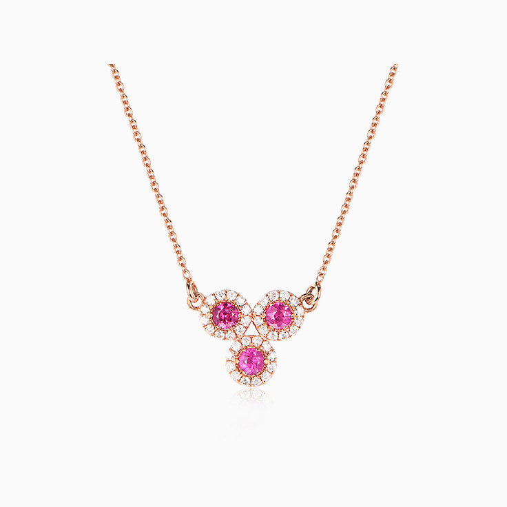 Round Ruby and diamond Necklace