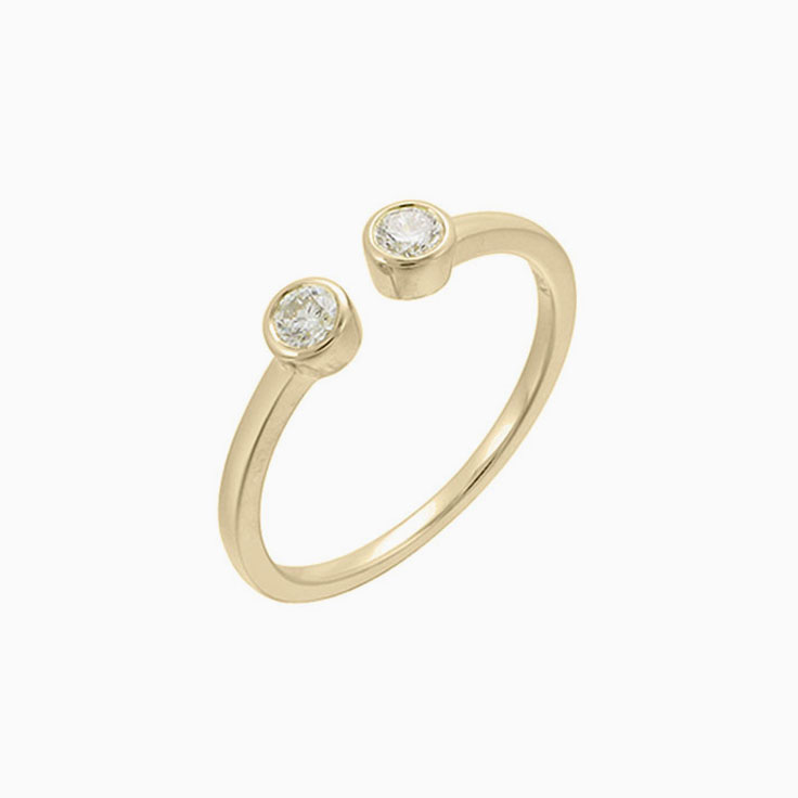 Bezel Set Diamond Cuff ring