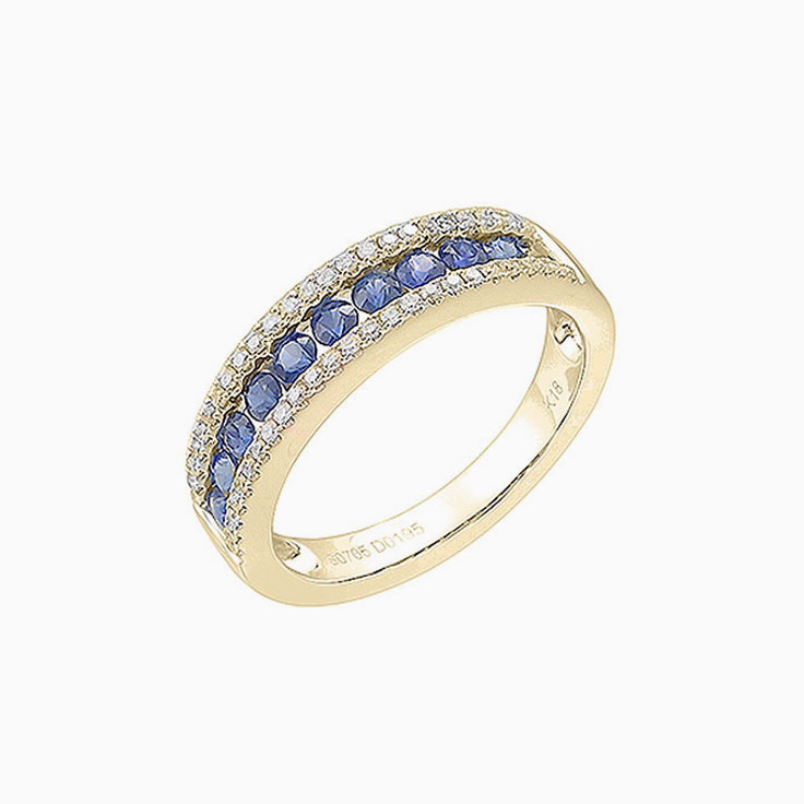 Blue Sapphire and diamond ring 3918