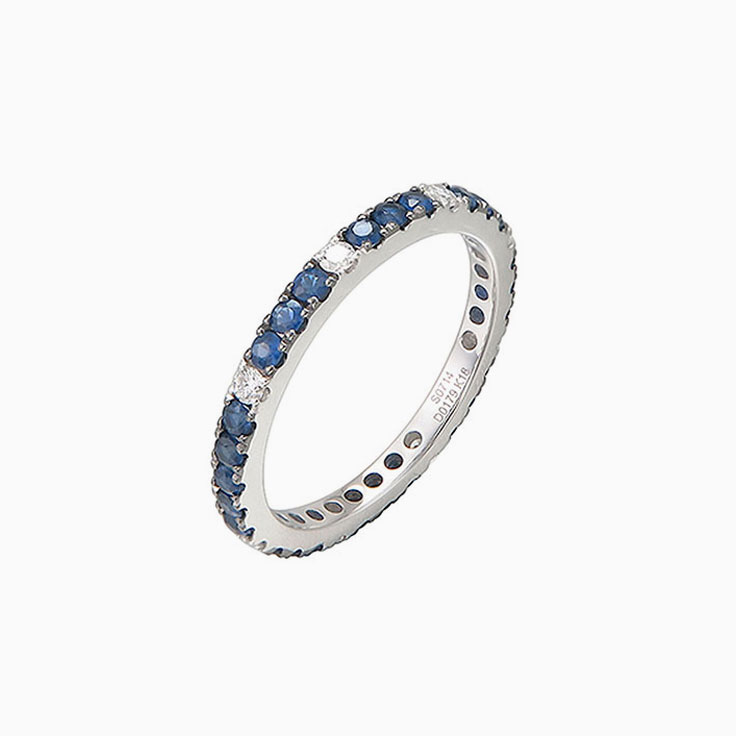 Blue sapphire and diamond eternity3938