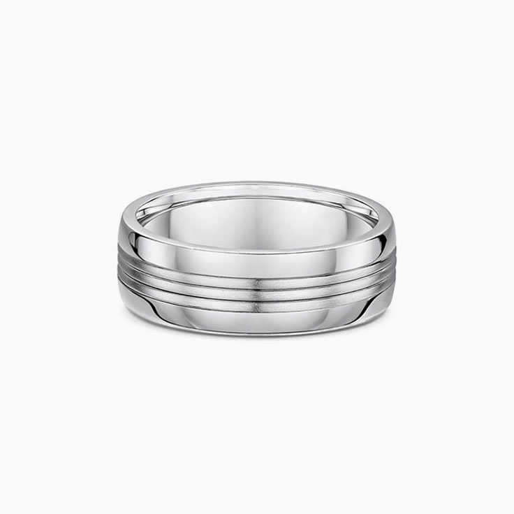 Centre striped mens wedding ring
