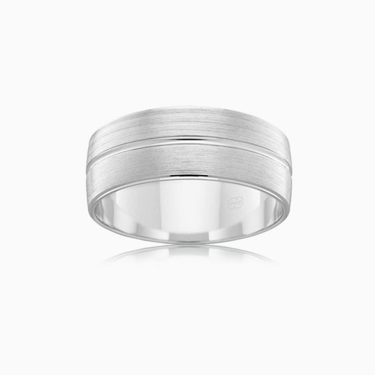 Grooved Mens Wedding Ring B2621