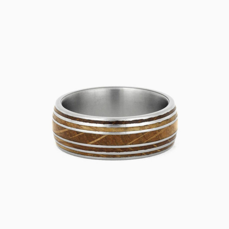 Oak wood whiskey barrel ring