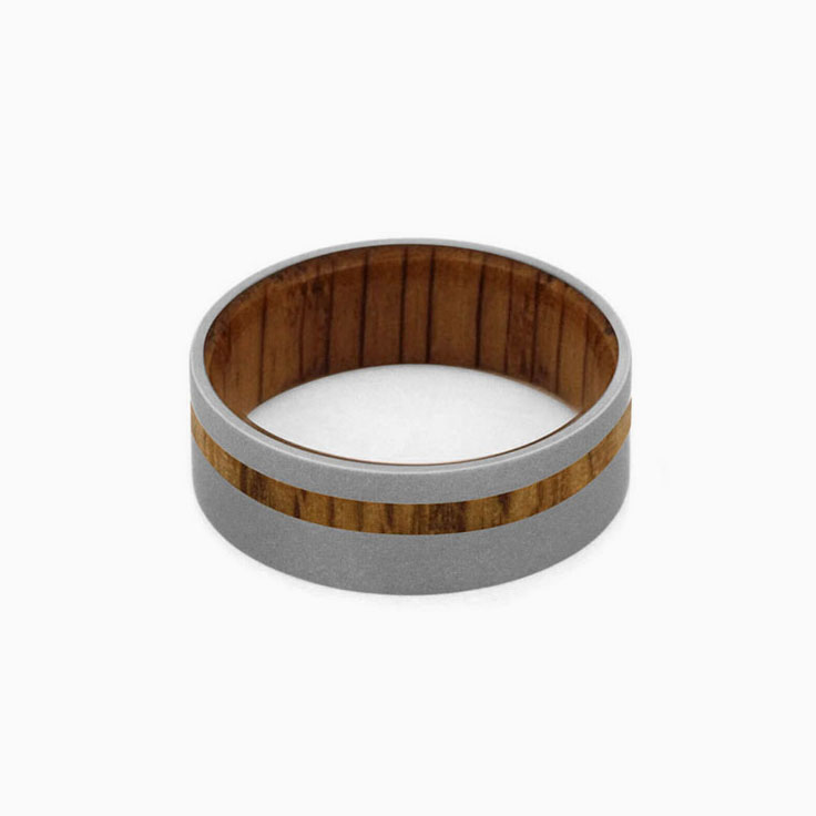 Oak Wood Ring With Sandblasted Titanium