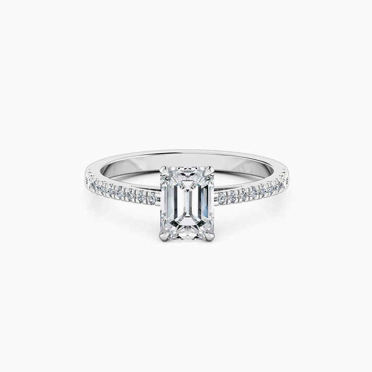 Emerald Cut Diamond Engagement Ring On A diamond Band