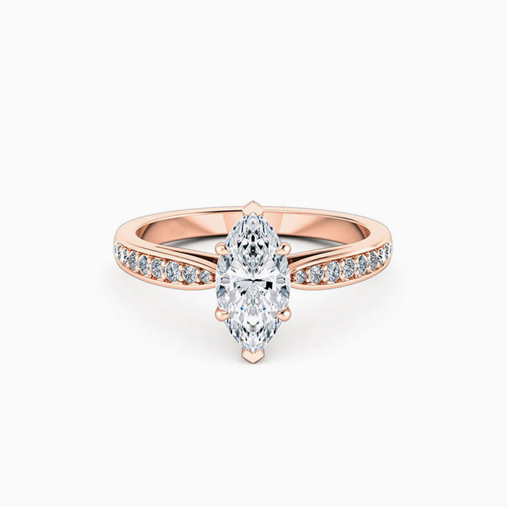 Marquise Cut Diamond Engagement Ring With pave Diamond Band