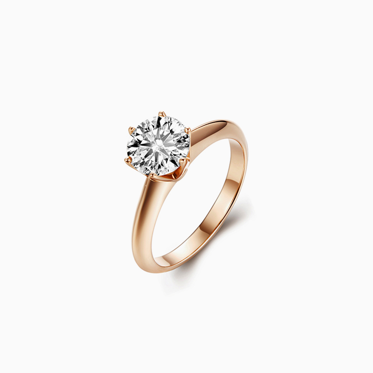 Rose gold Classic Solitaire Ring with Round Diamond