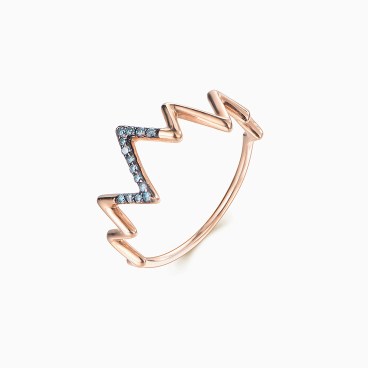 Zig Zag Blue diamond Ring