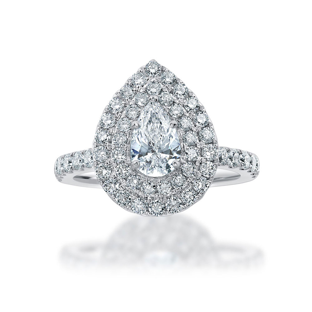 Pear Cut diamond engagement ring with double halo