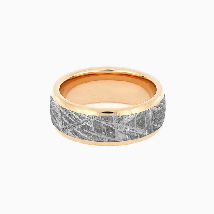 Gibeon Meteorite Band With Rose Gold