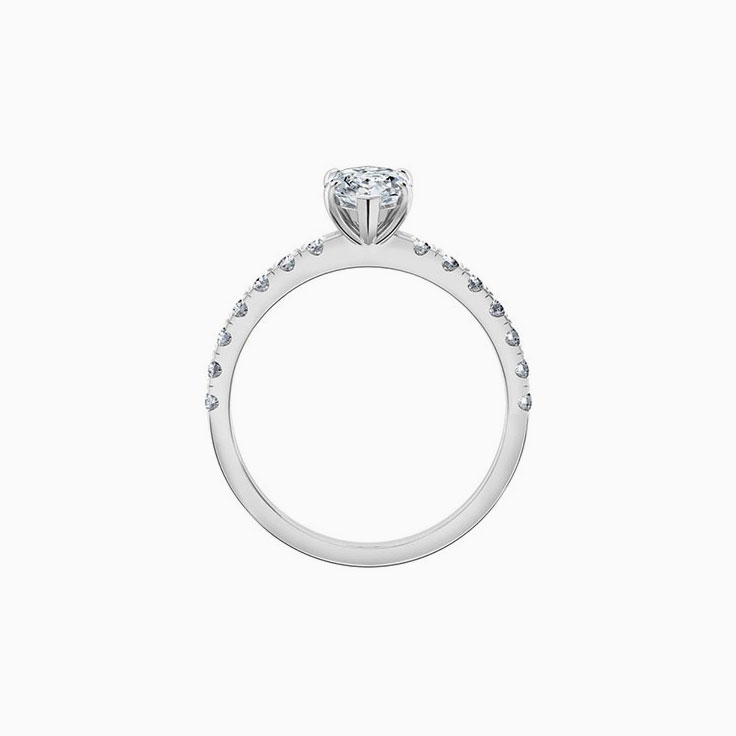 Marquise cut diamond engagement ring with diamond band