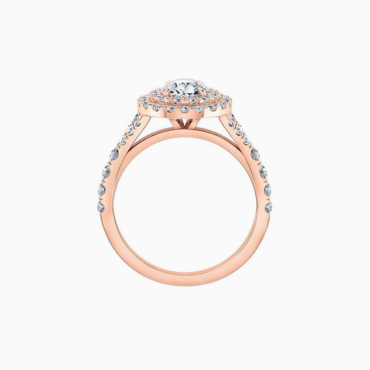 Pear cut engagement ring with double halo and split band